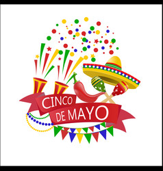 holiday of cinco de mayo confetti and crackers vector image