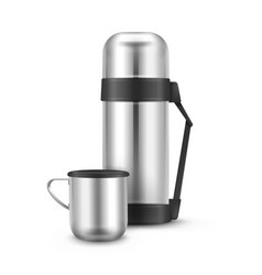 metal thermos flask vector image