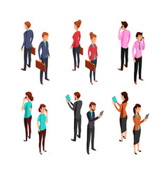 man and woman businessman isometric 3d standing vector image