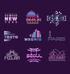 world cities labels set logo graphic templates vector image