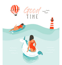 Hand drawn abstract summer time fun vector