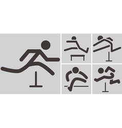 Running hurdles icons vector