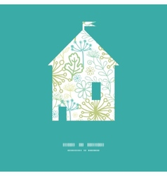 Mysterious green garden house silhouette vector