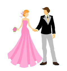 Elegant bride and groom vector