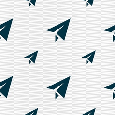 Paper airplane icon sign seamless pattern with vector