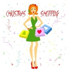 Christmas shopping girl vector