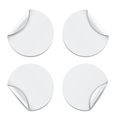 Set of white round paper stickers vector