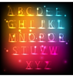Luminous alphabet neon english font vector