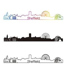 Sheffield skyline linear style with rainbow vector