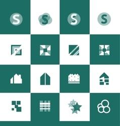 Flat green logo design elements set vector image