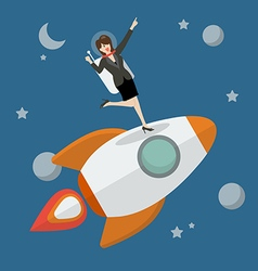 Business woman astronaut standing on a rocket vector image