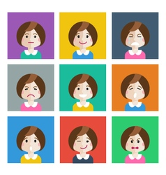 Set of different emotions girl vector