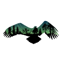 Eagle and trees silhouettes vector