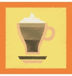 Flat shading style icon cup of coffee mocha vector