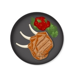 Grilled ribs top view vector