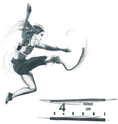 Athletes with physical disabilities - long jump vector
