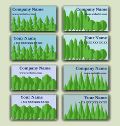 Business cards with the image of the forest vector