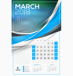 calendar template for 2018 year march design vector image vector image