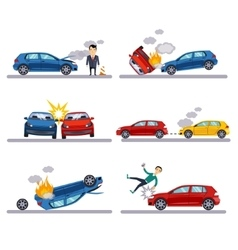Car accidents set on white vector image vector image