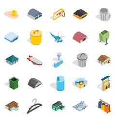 City infrastructure icons set isometric style vector