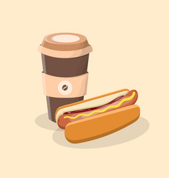coffee to go and hot dog with mustard and ketchup vector image