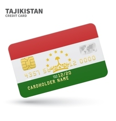 Credit card with Tajikistan flag background for vector image