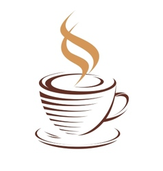 Cup of hot steaming coffee vector image