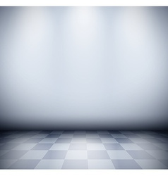 Dark misty room with checkered floor vector image vector image