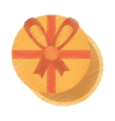 Drawing gift box round with red bow ribbon vector