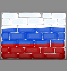 Flag of russia painted on brickwall vector