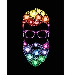Gem bearded man with glasses vector