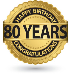 Happy birthday 80 years gold label vector