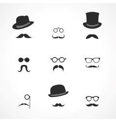 Interface elements mustaches hats and glasses vector image