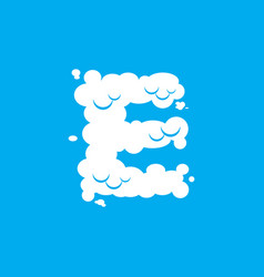 Letter e cloud font symbol white alphabet sign on vector