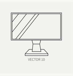Line flat computer part icon lcd monitor vector