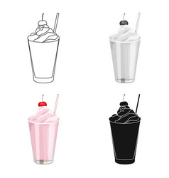 Milkshake with cherry on the top icon in cartoon vector