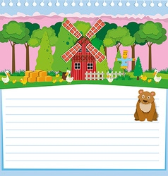 Paper design with bear and farm vector image vector image