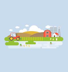 rural landscape with farm building vector image