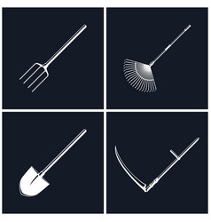 Set of agricultural tools on black background vector