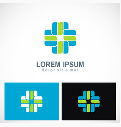 shape cross plus hospital logo vector image