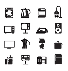 Silhouette home equipment icons vector image vector image