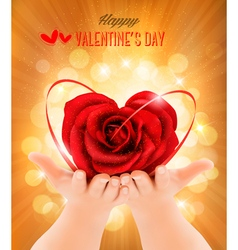 Valentines day background Hands holding heart vector image vector image