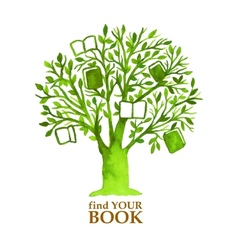 Watercolor green tree with hunging books vector