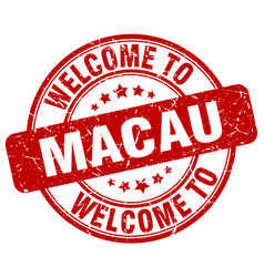 Welcome to macau red round vintage stamp vector