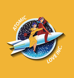 With couple of lovers on the rocket vector