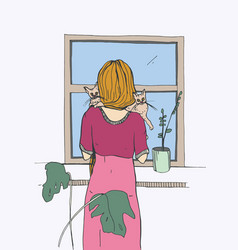 Woman near the window with cats vector
