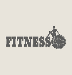woman silhouette on fitness text vector image vector image