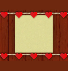 wood wall with romantic decor vector image vector image