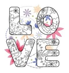 Word love painted on vintage flowers vector