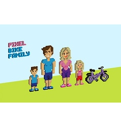 Pixel bike family vector